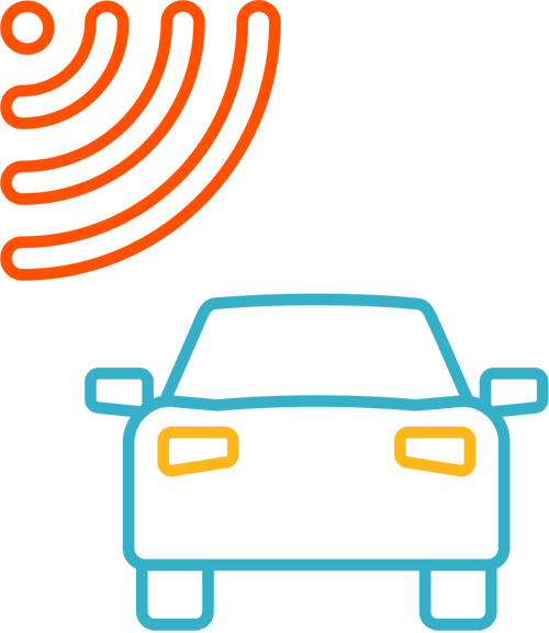 Icon of car with satellite waves